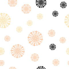 Light Orange vector seamless background with xmas snowflakes.