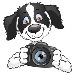 Dog taking photo cartoon