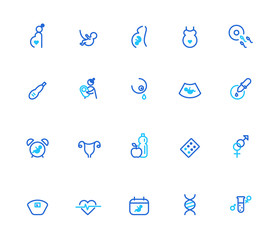 Pregnancy and woman health icons, simple line set
