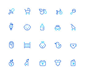 Baby icons, simple line set