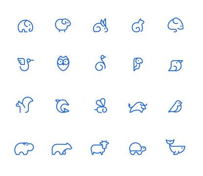 Animal icons, simple line set
