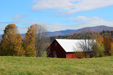 Red Barn in Autumnal Mountainous Northern Vermont