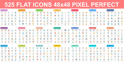 Simple set of vector flat icons. Contains such Icons as Business, Marketing, Shopping, Banking, E-commerce, Technology, Social Media, Education, Web Development, and more. Flat pictogram pack.