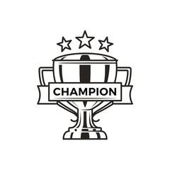Champion Trophy with Stars Monochrome Logotype