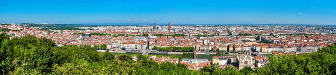 Panorama of Lyon from the Fourviere hill. France