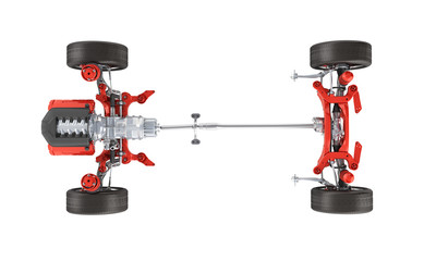 Suspension of the car with wheel and engine Undercarriage in detail top view isolated on white background 3d without shadow