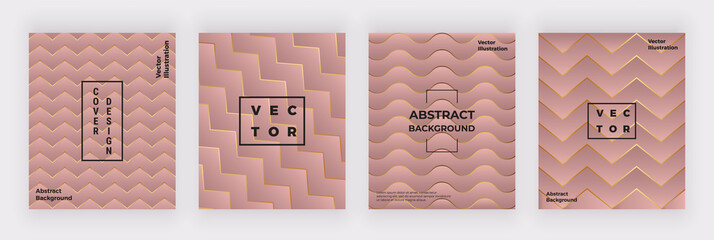 Geometric pink covers design with golden lines and triangle shapes. Modern background for flyer, placard, party, social media, invitation, birthday, card, banner, poster
