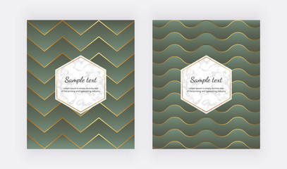 Geometric green covers design with golden lines and triangle shapes. Modern background with marble frame. Template for flyer, placard, party, social media, invitation, birthday, card, banner, poster