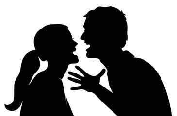 Swearing couple. Silhouette on a white background
