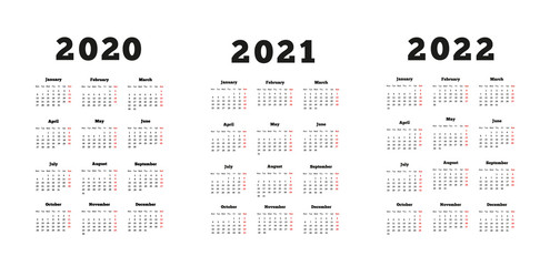 Set of A4 size vertical simple calendars at 2020, 2021, 2022 years isolated on white