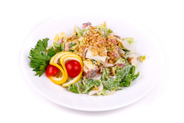 Salad of fish, cabbage and pine nuts