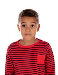 Beautiful latin child with red striped shirt