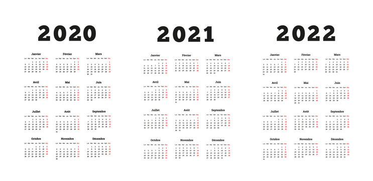 Set of A4 size vertical simple calendars in french at 2020, 2021, 2022 years isolated on white