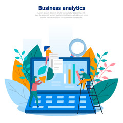 Concept illustration of business analytics, information gathering, data analysis, graphs and charts, team game, market research, online research. Color flat vector design