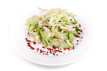 Salad of cucumbers and meat