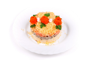 Salad of meat, carrots, eggs and cheese