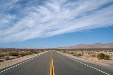 Empty Desert Highway running from California to Arizona