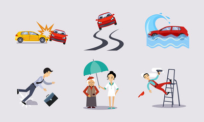 Insurance and risk insured events set, road accidents, health and life protection vector Illustration