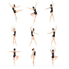 Female ballet dancer set, beautifull slim ballerina dancing classical dance vector Illustration on a white background