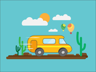 The journey by minibus through the desert or Savannah against a background of clouds and balloons. Vector illustration.