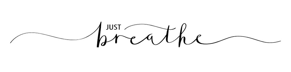 Foto op Aluminium Positive Typography JUST BREATHE brush calligraphy banner