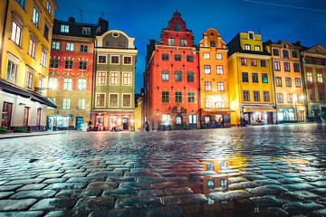 Stockholm Gamla Stan district at twilight, Sweden, Scandinavia