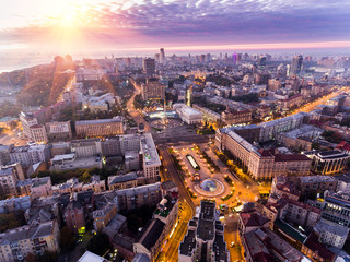 Independence Square. Ukraine. Aerial view of the Independence Monument. Revolution of pride. Orange...