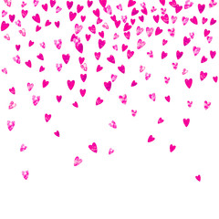 Heart border background with pink glitter. Valentines day. Vector confetti. Hand drawn texture. Love theme for gift coupons, vouchers, ads, events. Wedding and bridal template with heart border.