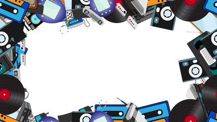 Frame from old retro hipster electronics, mobile phones, TV, tape recorder, player, audio cassettes, VCR, game console, camera, computer. The background. Vector illustration