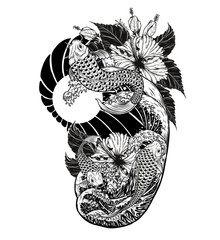 Japanese fish with hibiscus tattoo by hand drawing.Beautiful bird on white background.Grus japonensis art highly detailed in line art style.Chinese bird for tattoo or wallpaper.