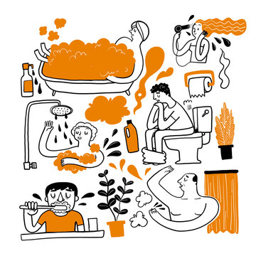 A personal errand in the bathroom. Collection of hand drawn Vector illustration in sketch doodle style.