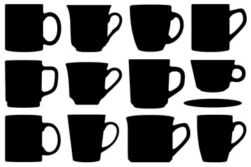 Set of different cups and mugs isolated on white
