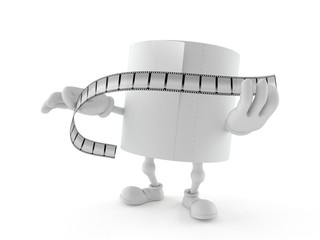 Toilet paper character holding film strip