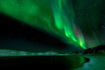 Stunning Aurora Borealis, Kleifarvatn, Iceland