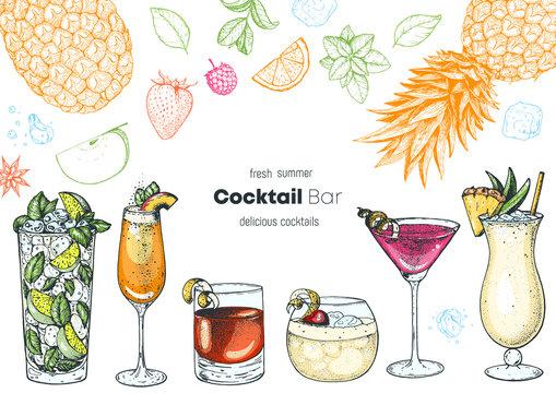 Alcoholic cocktails hand drawn vector illustration. Cocktails set. Menu design elements.