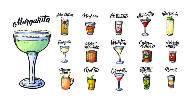 Alcoholic drinks set. Glass of cocktails. Isolated black and white vintage engraving. Sketch art, coloring cartoon style. Hand draw. Vector illustration