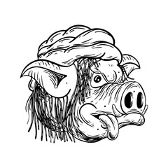 Pig rasta. Black and white illustration. Isolated on light backgrond.
