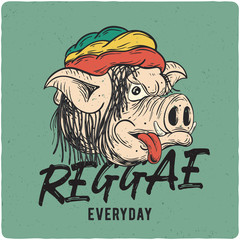 T-shirt or poster design with illustration of pig rasta. Design with text composition.