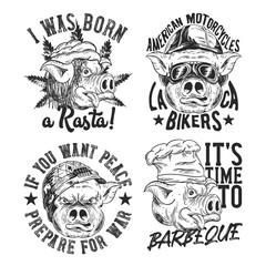 Vintage labels set with lettering composition on white background. T-shirt logo design. Pig's heads - rasta, cook, soldier and biker.