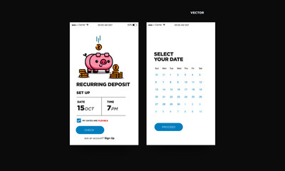 Recurring Deposit Money App for For Smart Phone with Cute Piggy Bank Card Illustration Gold Coins
