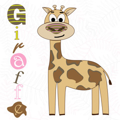 Vector illustration of a giraffe on a white background. T-shirt graphics for kids