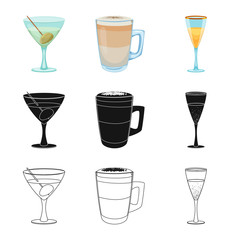 Vector design of drink and bar logo. Set of drink and party vector icon for stock.