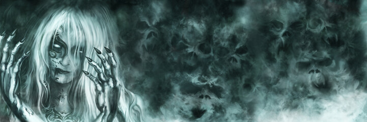 Ancient Vampire Goddess banner/ Illustration mysterious woman with painted face and bloody hands. Mist like ghost skulls on the background