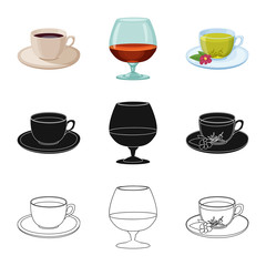 Isolated object of drink and bar symbol. Set of drink and party stock vector illustration.