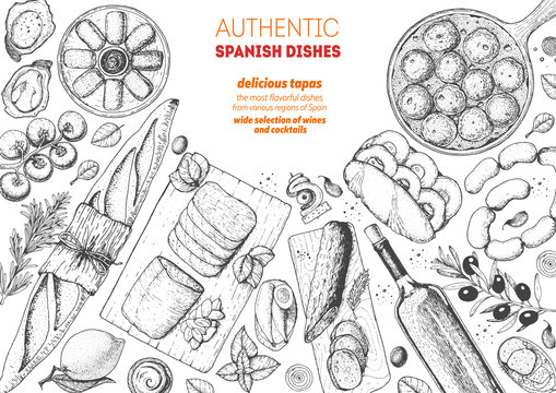 Spanish cuisine top view frame. A set of spanish dishes with albondigas, mojama, bocadillo, spanish croquetas. Food menu design template. Vintage hand drawn sketch vector illustration. Engraved image