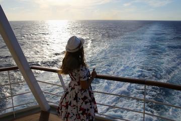 Caribbean cruise, sunset, woman