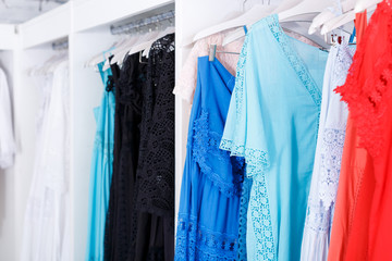 Bridesmaid dresses in wedding show room