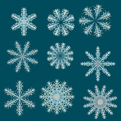 Set of 9 different multicolored christmas snowflakes