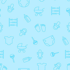 Vector blue seamless pattern of baby stuff. Baby objects seamles
