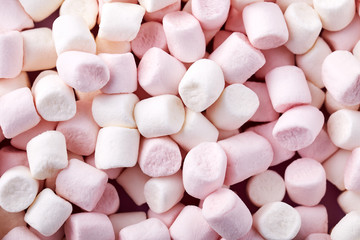 Background of white and pink marshmallows
